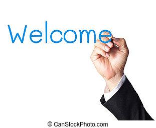 welkom, hand, plank, zakenman, witte , schrijvende