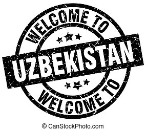 welkom, om te, oezbekistan, black , postzegel