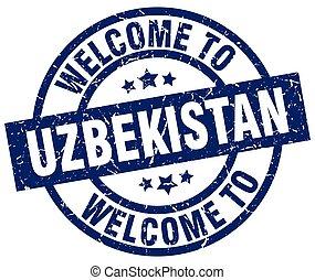welkom, om te, oezbekistan, blauwe , postzegel