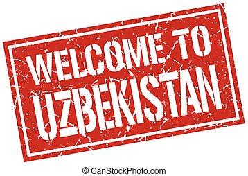 welkom, om te, oezbekistan, postzegel