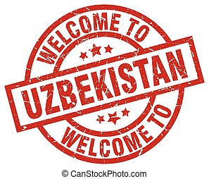 welkom, om te, oezbekistan, rood, postzegel
