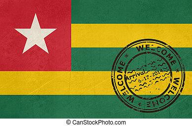 welkom, om te, togo vlag, met, paspoort stempel