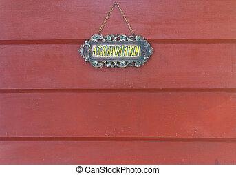 welkom teken, vrijstaand, op, rood hout, muur