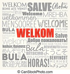 Welkom (Welcome in Afrikaans) word cloud in different ...