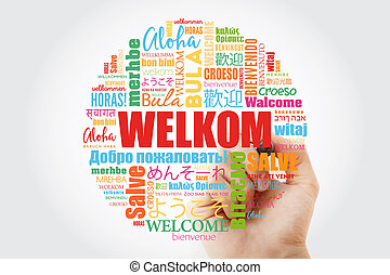 Welkom (Welcome in Afrikaans) word cloud with marker in ...