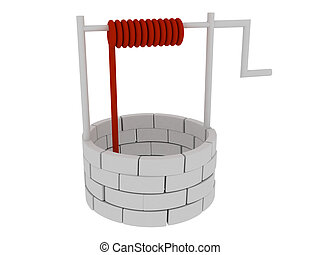 3d render of well. Isolated on white background.