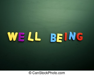 well being concept in colorful letters isolated on blank...