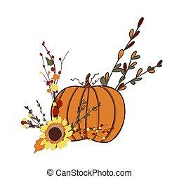 well-being., halloween., dziękczynienie, symbol, pumpkin., ...