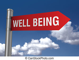 well being road sign 3d concept illustration on sky background