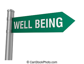 well being road sign 3d concept illustration on white...