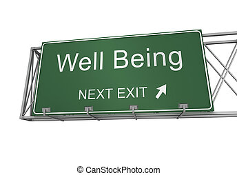well being road sign 3d concept illustration on white background