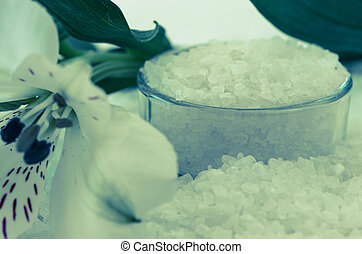 well-being - white sea salt background image with white...