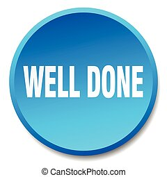 well done blue round flat isolated push button