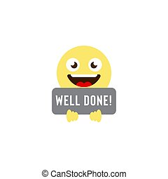 well done emoticons vector icon symbol isolated on white background