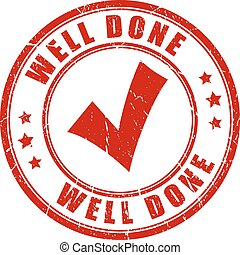 Well done stamp on white background