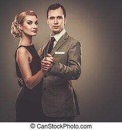 well-dressed, ретро, пара