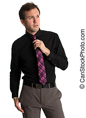 Young man in a shirt and tie. Studio shot over white.