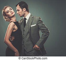 Well-dressed retro couple