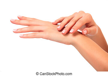 Well-groomed female hands, isolated on white background