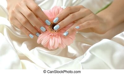 Well-groomed hands with gerbera, slow motion. Girl hands...
