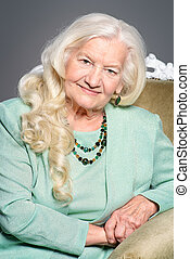 well-groomed old woman - Portrait of a modern senior woman...