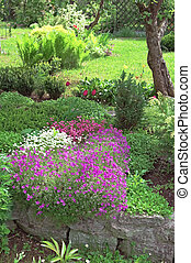 Well-groomed spring garden.