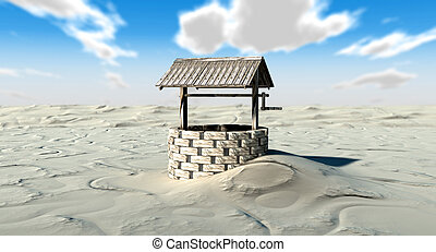 An old school well isolated in the middle of a vast sandy desert
