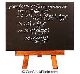Very difficult and complex rocket science equation on a blackboard