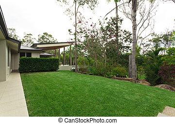 Beautiful backyard in stylish Australian home