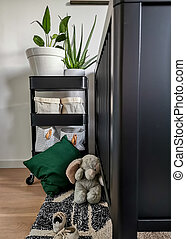 Well organized contemporary black and white baby nursery in a nature theme with plants and jungle decoration.