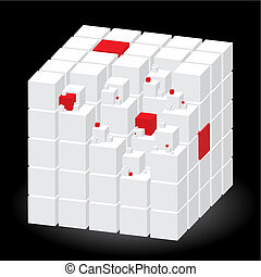Well-organized located group of cubes of red and white colors on black background