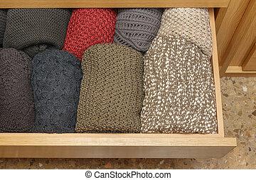 well-organized, sommet, ouvrir tiroir, vue