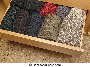 well-organized, tiroir, ouvert