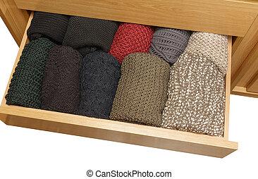 well-organized, tiroir, sur, ouvert, blanc