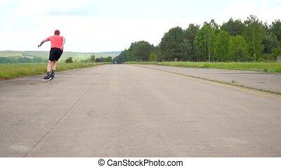 Well practise skater enjoy inline shuffling. Man with...