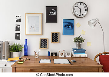 Well prepared materials for work on wooden desk