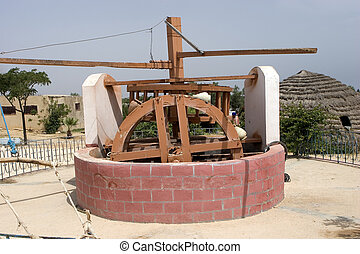 primative well for drawing water powered by tethered animal, Tunisia