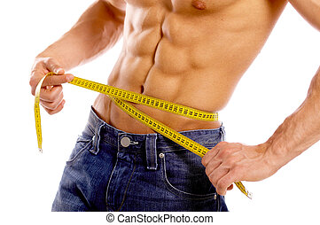 Well Shaped - Muscular and tanned male body parts is being ...