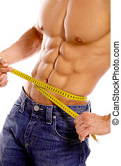 Well Shaped - Muscular and tanned male body parts is being...