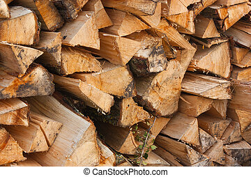 Well stocked Woodpile. - A large stack of wood, chopped and...