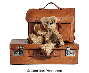 Well-Traveled Vintage Suitcase and Teddy Bear - Set of...