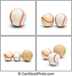 well used baseball isolated on white