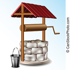 Well with metal bucket - Stone Well with metal bucket