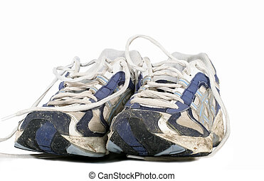 Well worn runners on white background