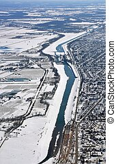 Welland Canal aerial, Winter