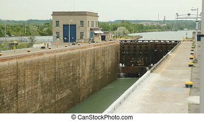 Welland canal lock gates. - Massive lock gates in the...