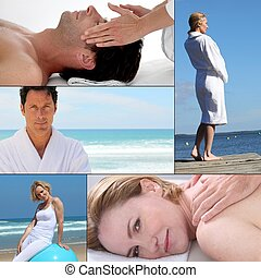 Wellbeing and massage themed collage