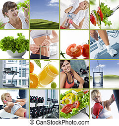 wellbeing collage - Healthy lifestyle theme collage composed...