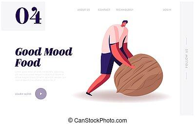 Wellbeing Lifestyle Website Landing Page. Man Rolling Huge...