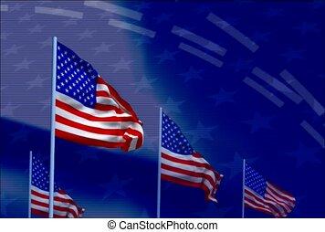 welle, amerikanische markierung, flaggen, linie